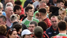 Loyal to the core: James McCormack of Mayo mixes with supporters after the final whistle in Newry last Saturday. Photo: Sportsfile