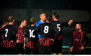 11 September 2015; Killester United players remonstrate with referee Ben Connolly after conceeding a free. Irish Daily Mail FAI Senior Cup, Quarter-Final, Bray Wanderers v Killester United, Carlisle Grounds, Bray, Co Wicklow. Picture credit: Piaras ? M?dheach / SPORTSFILE
