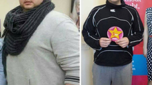 Left: Darren when he joined Unislim in Cahir, Co Tipperary. Right: 3 stone 7 lbs down