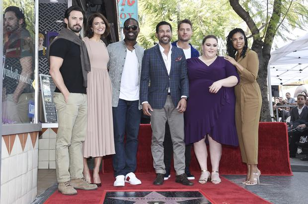 Mandy Moore posed with her This Is Us cast mates after being honoured with a star on the Walk Of Fame (Richard Shotwell/Invision/AP)