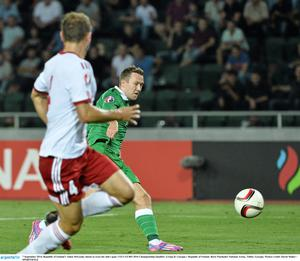 7 September 2014; Republic of Ireland's Aiden McGeady shoots to score his side's goal. UEFA EURO 2016 Championship Qualifer, Group D, Georgia v Republic of Ireland. Boris Paichadze National Arena, Tbilisi, Georgia. Picture credit: David Maher / SPORTSFILE