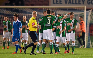 Gavan Holohan, Cork City, is congratulated by team-mates after scoring his side's third goal.