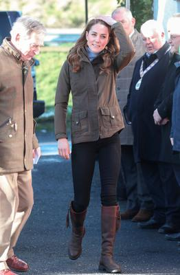 Catherine, Duchess of Cambridge arrives at The Ark Open Farm on February 12, 2020 in Newtownards, Northern Ireland