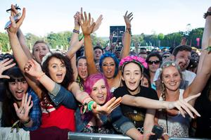 Music fans front and centre of the main stage for Bastille on the first day of Longitude 2014 in Marley Park. Picture: Tony Kinlan