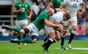 England's Tom Youngs is tackled by Paul O'Connell at Twickenham on Saturday