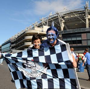 22 September 2013; Dublin supporters John Boland, and his son Sen, aged 13, from Hartstown, Co. Dublin, ahead of the GAA Football All-Ireland Championship Finals, Croke Park, Dublin. Picture credit: Dire Brennan / SPORTSFILE