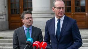 Minister for Finance Paschal Donohoe TD pictured  with Tanaiste Simon Coveney TD at a Brexit briefing outside Government Offices.