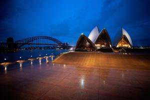 A general view of The Sydney Opera House which is currently closed due to Covid-19
