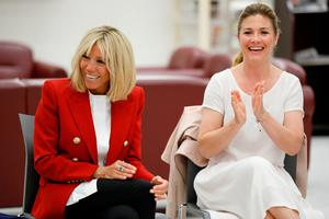 Brigitte Macron, wife of French President Emmanuel Macron, and Sophie Gregoire-Trudeau, wife of Canadian PM Justin Trudeau. Photo: Reuters