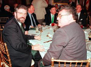 Sinn Fein lead Gerry Adams (L) and US Representative of New York Peter King (R) attend the annual St. Patrick's Day luncheon 17 March on Capitol Hill in Washington, DC. Photo: LUKE FRAZZA/AFP/Getty Images