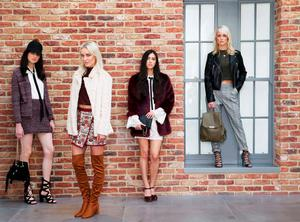 Pictured, (l to r) Maria wears Knitted Jacket, €18, Knitted Skirt €14, Cream Blouse €13, Suede Bag €16, Lace Up Sandal €26; Teo wears Faux Fur Coat €40, Aztec Skirt €10, Burgundy Knit €10, Tan Over the Knee Boots €28, Li Ann wears Burgundy Faux Fur Coat €40, Cream Lace Bow Blouse €23, Cream Lace Dress €28, Burgundy Mock Croc Platforms €22, Black Chain Detail Bag €10, Gracie wears Black Biker, €35, Khaki Backpack €14, Check Trouser €16, Lurex Top €10, Snake Print Heels €22. Photograph: Leon Farrell / Photocall Ireland
