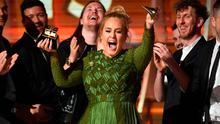 Recording artist Adele, winner of Album of the Year for '25,' speaks onstage during The 59th GRAMMY Awards at STAPLES Center on February 12, 2017 in Los Angeles, California.  (Photo by Kevork Djansezian/Getty Images)