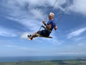 David Conachy gets into the swing of things during a visit to Montana Redonda