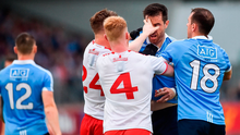 NASTY CLASH: Tyrone's Kieran McGeary (l) and Hugh Pat McGeary tussle with Dublin's Michael Darragh Macauley (with the support of Cormac Costello) during their All-Ireland SFC Group 2 Phase 2 clash at Healy Park in Omagh on Saturday. Photo: Sportsfile