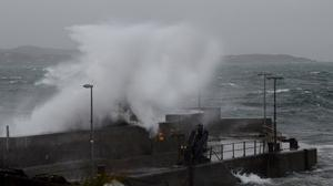 Gusts: High seas driven by high winds at Roonagh Pier in Mayo. Photo: Paul Mealey