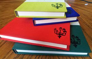 A hand-bound notebook from Duffy Notebooks