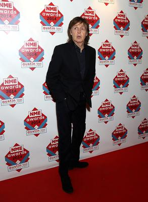 Paul McCartney arriving for the 2014 NME Awards, at Brixton Academy, London. PRESS ASSOCIATION Photo. Picture date: Wednesday February 26, 2014. Photo credit should read: Yui Mok/PA Wire