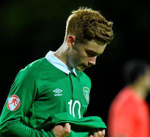 Connor Ronan chokes back the tears after Ireland's defeat by England
