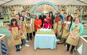 The cast of Bake Off in the tent (C4/Love Productions/Mark Bourdillon/PA)