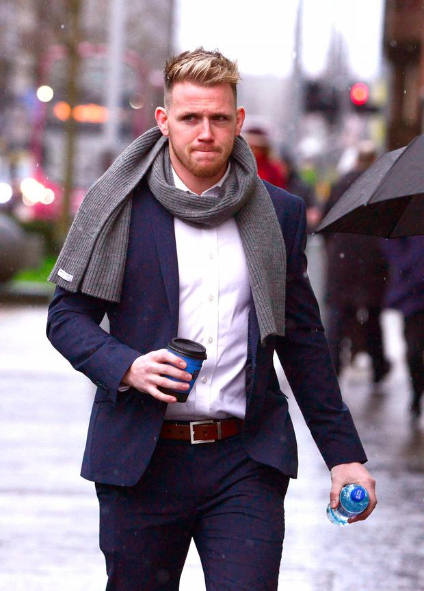 Craig Gilroy attends the Belfast rape trial in January. Photo: Pacemaker