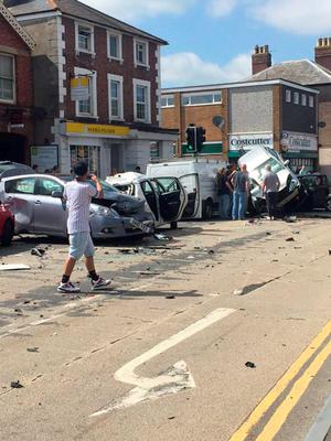 BEST QUALITY AVAILABLE  Handout photo from the Twitter feed of @RiannaCaira of the scene following a crash involving up to 12 vehicles in London Road, Southborough, Kent, just after 3.30pm. PRESS ASSOCIATION Photo. Issue date: Wednesday June 10, 2015. Fire crews used hydraulic cutting equipment to free a man and a woman trapped following the crash. There was no immediate comment on the condition of the casualties. A fire service spokesman said officers from Kent Police, South East Coast Ambulance Service and an air ambulance were at the scene. Kent Police said a man was arrested following the crash. See PA story ACCIDENT Crash. Photo credit should read: @RiannaCaira/PA Wire  NOTE TO EDITORS: This handout photo may only be used in for editorial reporting purposes for the contemporaneous illustration of events, things or the people in the image or facts mentioned in the caption. Reuse of the picture may require further permission from the copyright holder.