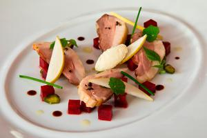 A salad of Ummera Smoked Silver Hill Duck Breast with beetroot and horseradish created by Restaurant Patrick Guilbauld for Irish Food Writers Guild Awards 2017