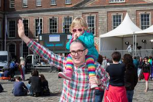 Brian McMahon with his daughter Lucy waiting for the reults of same-sex marriage referendum at Dublin Castle. Pic:Mark Condren