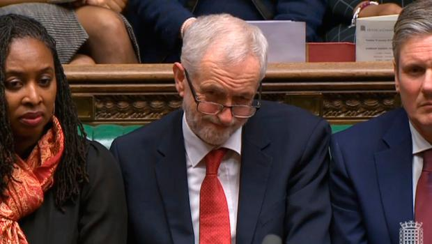 Labour leader Jeremy Corbyn listens at the conclusion of the debate ahead of a vote on the Prime Minister's Brexit deal in the House of Commons Photo credit: House of Commons/PA Wire