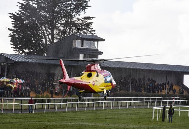 An Air Ambulance arriving at Thurles racecourse for David Mullins who suffered a fall from Lean And Keen in the 2m 2f handicap chase at Thurles
