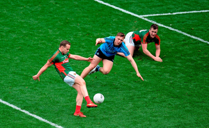Mayo's Andy Moran scores the equalising point near the end of the drawn All-Ireland semi-final