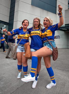 (L to R) Sonya Welch, Samantha Quinlan, Joanne Welch all from Carrick on Suir   at the All Ireland Hurling Final between Kilkenny & Tipperary at Croke Park, Dublin. Photo:  Gareth Chaney Collins