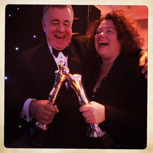 Coco Television co-owners Stuart Switzer and Linda Cullen celebrating IFTAs for 1916 and First Dates