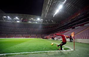 A recent behind-closed-doors game in the Turkish Super Lig, between Galatasaray and Besiktas. The Premier League might have to consider playing games in this manner to finish the season