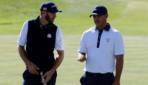 Dustin Johnson and Brooks Koepka played alongside each other on the second day of the Ryder Cup