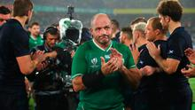 YOKOHAMA, JAPAN - SEPTEMBER 22: Rory Best of Ireland applauds fans as he leaves the pitch after the Rugby World Cup 2019 Group A game between Ireland and Scotland at International Stadium Yokohama on September 22, 2019 in Yokohama, Kanagawa, Japan. (Photo by Cameron Spencer/Getty Images)