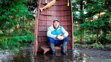 John Stroud in his garden in Athlone, which has been flooded with raw sewage. Photo: James Flynn/APX