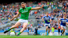 Mickey Newman of Meath scores his side's second goal, from a penalty, during the Leinster GAA Football Senior Championship Semi-Final match between Meath and Laois at Croke Park in Dublin. Photo by Piaras Ó Mídheach/Sportsfile