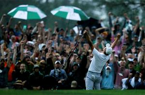Adam Scott of Australia celebrates winning the 2013 Masters golf tournament on the second playoff hole at the Augusta National Golf Club in August