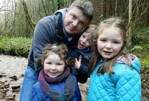 Same old me: Graham Clifford with his three children Molly (7), Aoife (5) and Aodhan (2)