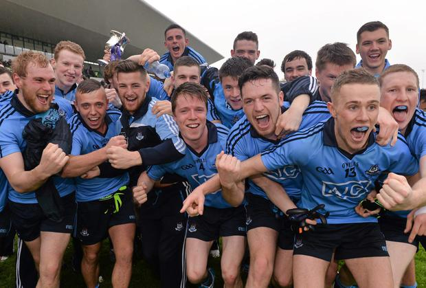One down... Dublin players celebrate with the cup after defeating Roscommon in the All-Ireland U21 football final in Tullamore in May. Photo: Ray McManus / SPORTSFILE