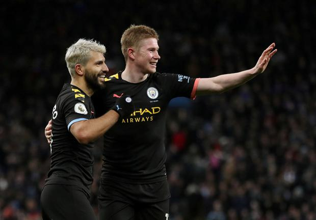 Manchester City's Sergio Aguero celebrates scoring their fifth goal with Kevin De Bruyne. Action Images via Reuters/Carl Recine