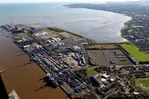 An aerial view of the Poolbeg Peninsula, including the vacant Irish Glass Bottle site