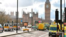 Emergency personnel on Westminster Bridge following yesterday's attack. Photo: PA