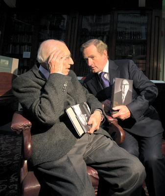 Something to smile about - Taoiseach Enda Kenny launching the memoirs of finance guru TK Whitaker. Photo: Mark Condren