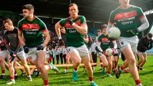 Brendan Harrison, left, Donal Vaughan and Cillian O'Connor of Mayo
