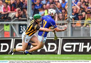 7 September 2014; Patrick Maher, Tipperary, is taken down by Paul Murphy, Kilkenny, resulting in referee Barry Kelly awarding a penalty. GAA Hurling All Ireland Senior Championship Final, Kilkenny v Tipperary. Croke Park, Dublin. Picture credit: Brendan Moran / SPORTSFILE