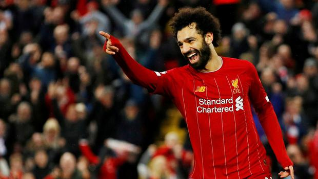 Liverpool's Mohamed Salah celebrates scoring their fourth goal. Photo: Phil Noble/Reuters