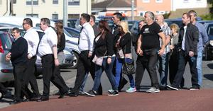 Family and friends at the funeral mass of Keith Walker at The Church of the Immaculate Heart of Mary, Rowlagh. Picture credit; Damien Eagers 19/6/2015