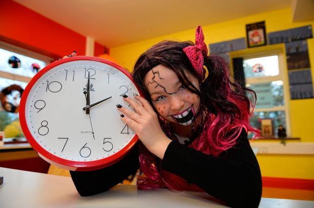 Roisin Reidy (11) from BallyMcElligott, Co Kerry, dressed for Halloween to remind everyone to put their clocks back one hour at 2am tomorrow Photos: Domnick Walsh