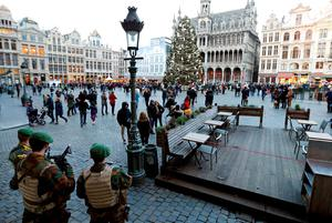 Belgian soldiers stand guard on Brussels' Grand Place today